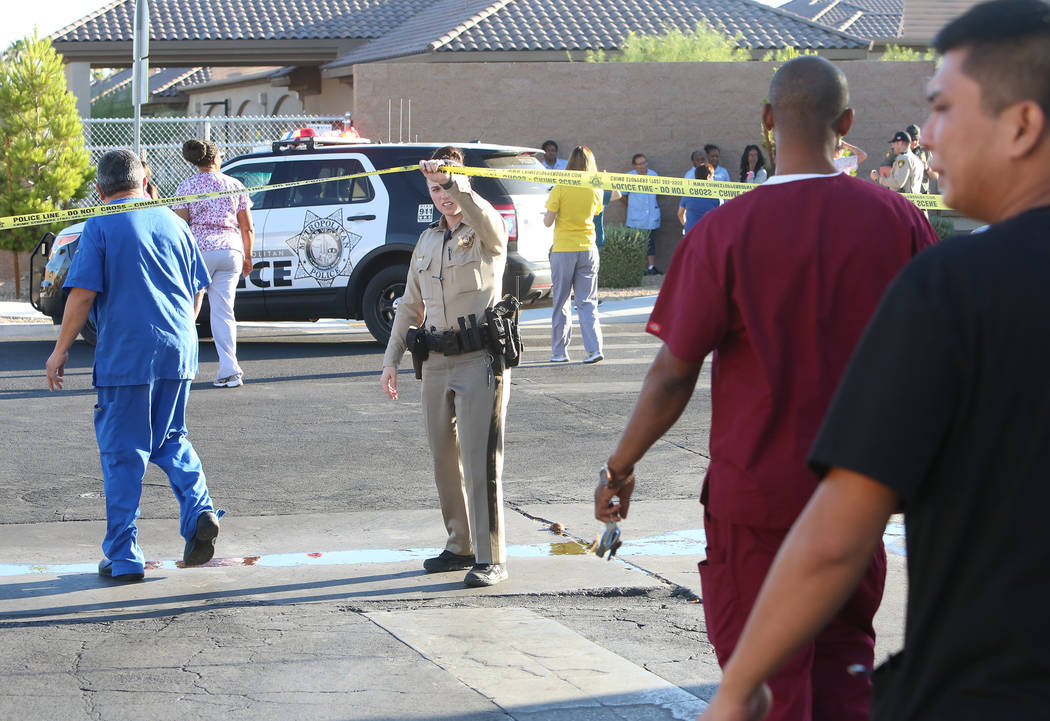 Metro investigates after a man with gun was seen at Spanish Hills Rehabilitation Center at 5351 Montessouri St., on Tuesday, June 27, 2017, in Las Vegas. (Bizuayehu Tesfaye/Las Vegas Review-Journa ...