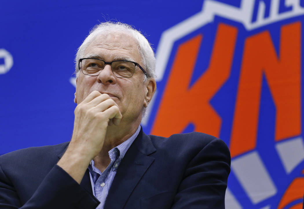 In this July 8, 2016, file photo, New York Knicks president Phil Jackson answers questions during a news conference at the team's training facility in Greenburgh, N.Y. The Knicks and Jackson parte ...