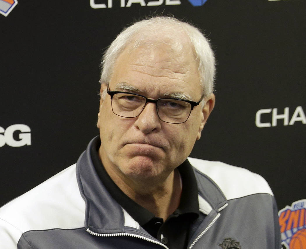 In this Feb. 8, 2016, file photo, New York Knicks president Phil Jackson speaks to reporters during a news conference in Greenburgh, N.Y. The Knicks and Jackson parted ways Wednesday morning, June ...