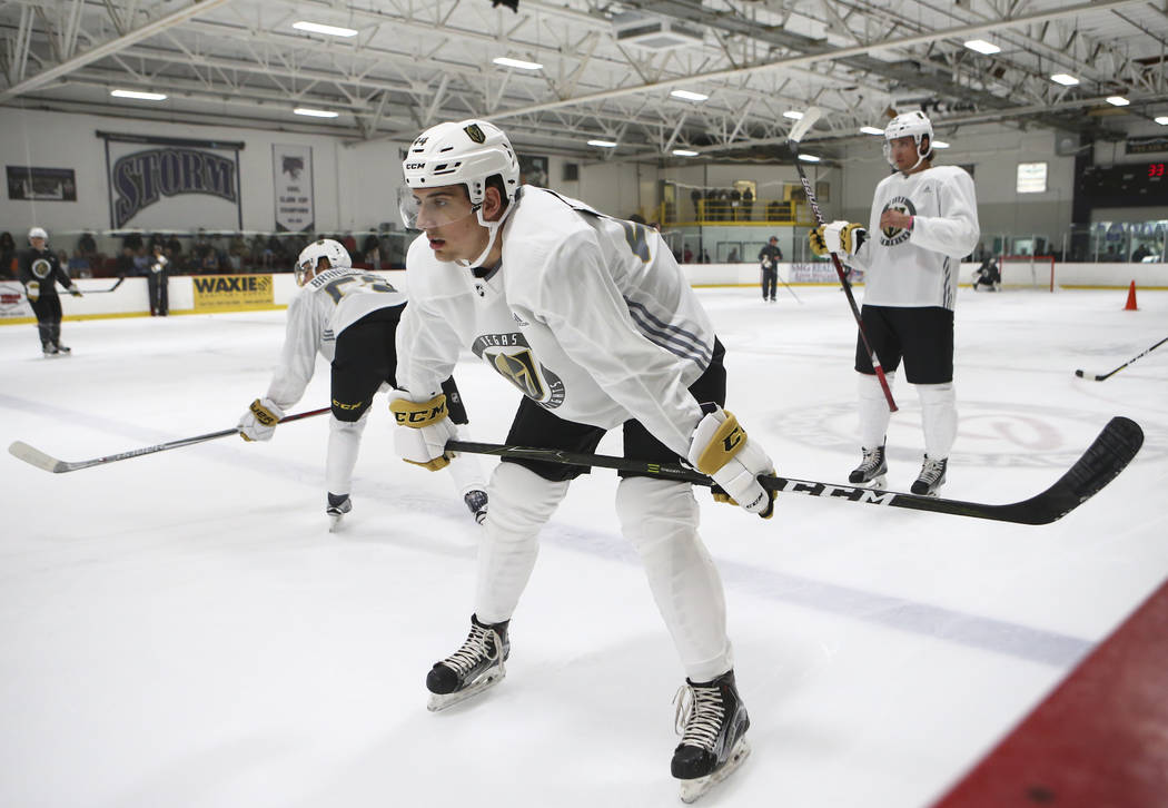 Vegas Golden Knights' Nicolas Hague during the team's development camp at Las Vegas Ice Center on Wednesday, June 28, 2017. Chase Stevens Las Vegas Review-Journal @csstevensphoto