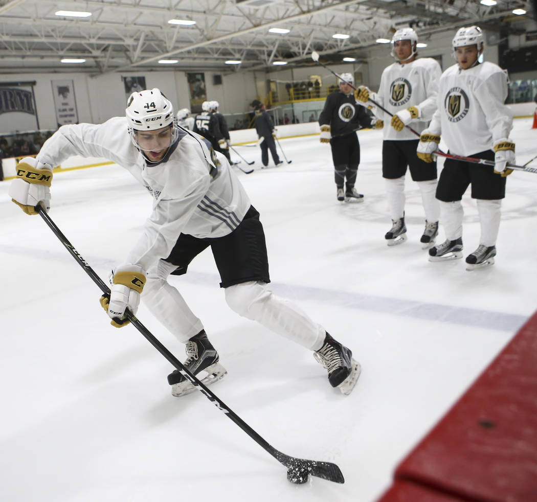 Vegas Golden Knights' Nicolas Hague, left, during the team's development camp at Las Vegas Ice Center on Wednesday, June 28, 2017. Chase Stevens Las Vegas Review-Journal @csstevensphoto