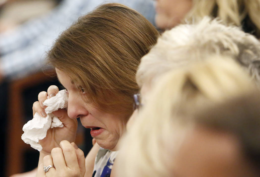 Colleen Beyer, daughter of murder victim Sharon Causse, reacts as the verdict is read in case of Thomas Randolph, who is accused of hiring a hitman to kill his last wife Causse, at the Regional Ju ...