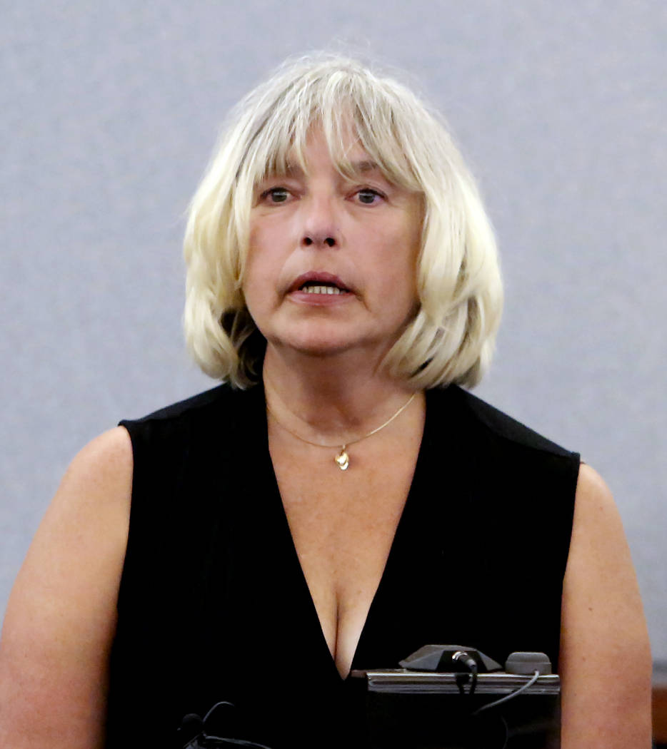 Kathryn Thomas, first ex-wife of Thomas Randolph, who was found guilty on two counts of murder and one count of conspiracy to commit murder, testifies at the Regional Justice Center in Las Vegas o ...