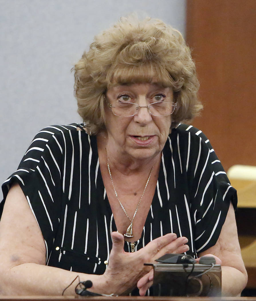 Gayna Allmon, ex-wife of Thomas Randolph, who was found guilty on two counts of murder and one count of conspiracy to commit murder, testifies at the Regional Justice Center in Las Vegas on Wednes ...