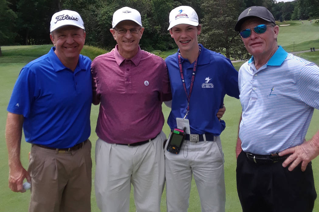 SNGA amateur Steve Fink, second from left, qualified for the U.S. Senior Open and played a practice round with PGA Tour Champions pros Billy Mayfair (left) and Tom Kite (far right), and also a jun ...