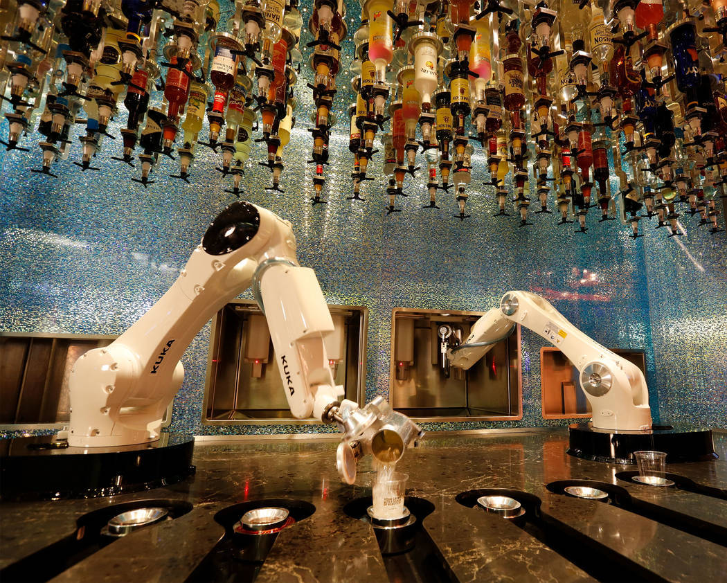 Robots make drinks at Tipsy Robot in the Miracle Mile Shops in Las Vegas June 26. (Chitose Suzuki Las Vegas Review-Journal @chitosephoto)