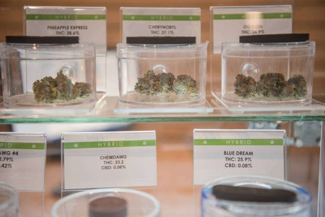 Samples on display at Euphoria Wellness on Thursday, June 29, 2017, in Las Vegas. Morgan Lieberman Las Vegas Review-Journal