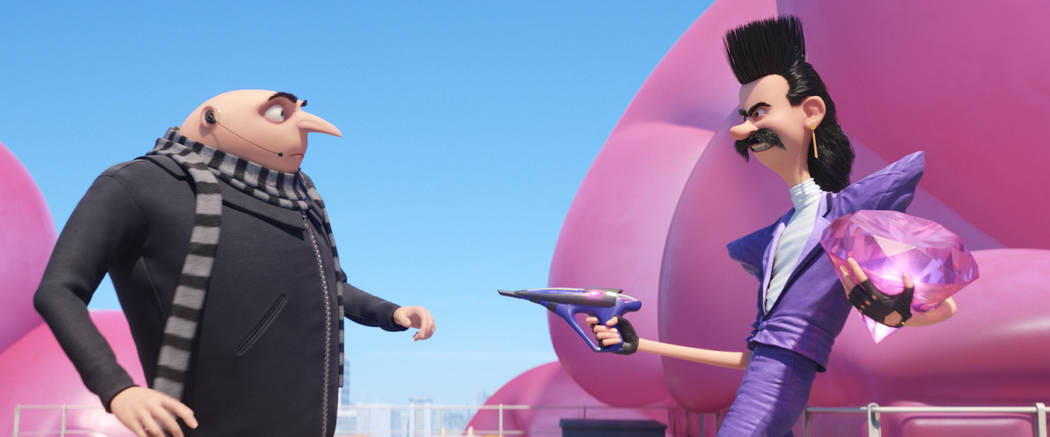 """(L to R) Gru (STEVE CARELL) faces off against Balthazar Bratt (TREY PARKER) in """"Despicable Me 3.""""  Illumination, who brought moviegoers """"Despicable Me"""" and the  ..."""