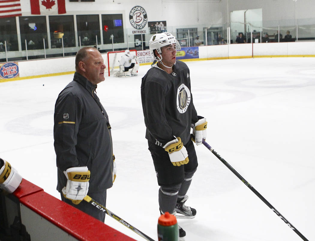 Vegas Golden Knights head coach Gerard Gallant, left, and forward Jack Dugan during the team's development camp at Las Vegas Ice Center on Tuesday, June 27, 2017. Chase Stevens Las Vegas Review-Jo ...