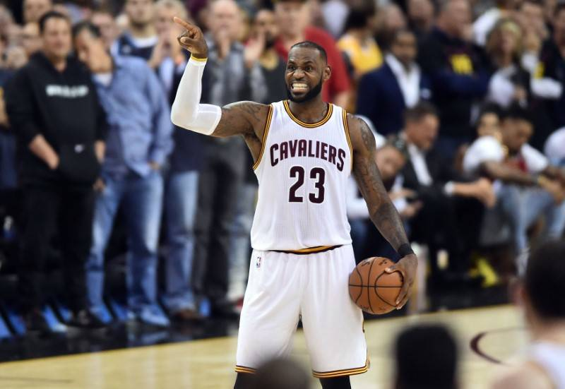 88c66082e00 Cleveland Cavaliers forward LeBron James (23) reacts during the fourth  quarter against the Golden