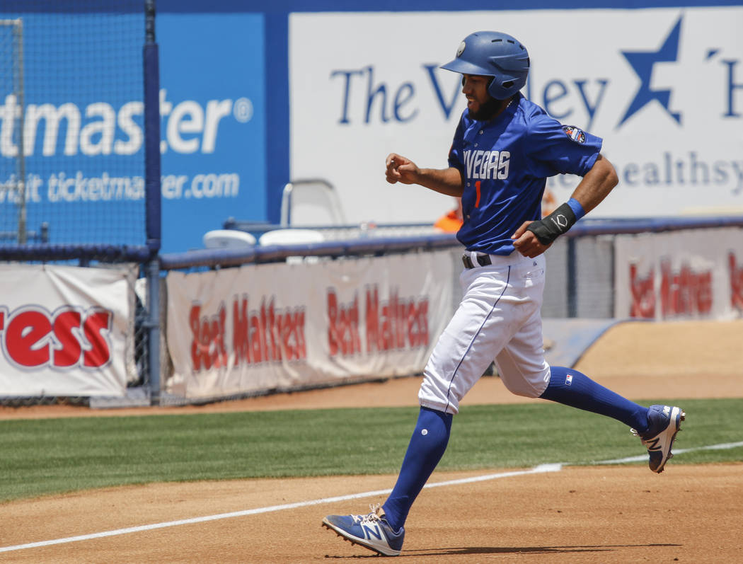 Las Vegas 51s' Amed Rosario (1) makes it to first base against El Paso during a baseball game at Cashman Field in Las Vegas on Tuesday, May 30, 2017. Chase Stevens Las Vegas Review-Journal @csstev ...