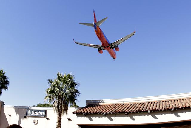 A Southwest Airlines plane approaches McCarran International Airport on Wednesday, Feb. 15, 2017, in Las Vegas. Bizuayehu Tesfaye/Las Vegas Review-Journal @bizutesfaye