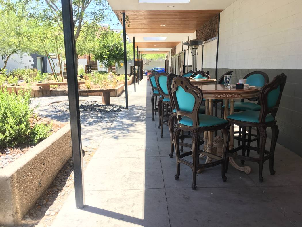 Mundo at Mingo has patio seating as an option for customers, with a design similar to the look inside. (Katelyn Umholtz/Las Vegas Review-Journal) @kumh0ltz