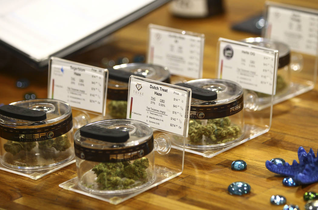 Customers line up to be some of the first people to legally purchase recreational marijuana from a dispensary at Reef Dispensaries in Las Vegas on Saturday, July 1, 2017. Chase Stevens Las Vegas R ...