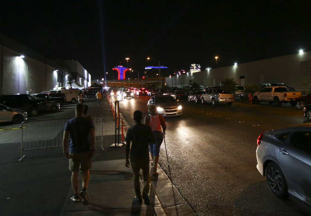 People make their way to Reef Dispensaries to line up for the first recreational marijuana sales in Las Vegas on Friday, June 30, 2017. Chase Stevens Las Vegas Review-Journal @csstevensphoto