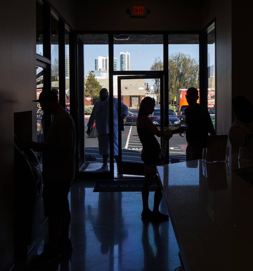 Customers arrive at Acres Cannabis during the first day of recreational sales in Las Vegas on Saturday, July 1, 2017. Chase Stevens Las Vegas Review-Journal @csstevensphoto