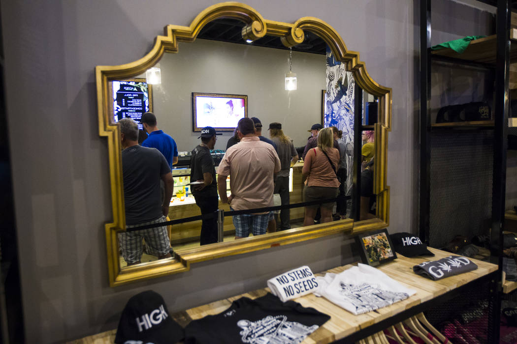Customers line up for marijuana products during the first day of recreational sales at Acres Cannabis in Las Vegas on Saturday, July 1, 2017. Chase Stevens Las Vegas Review-Journal @csstevensphoto