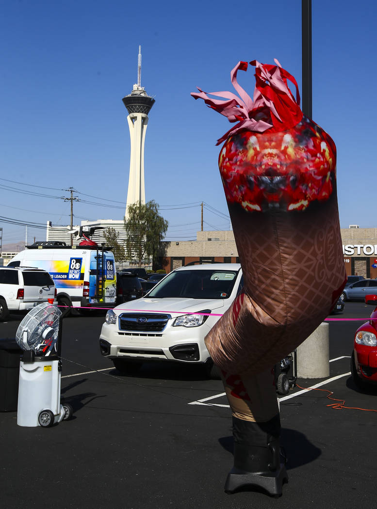 An inflatable joint outside of Acres Cannabis during the first day of recreational sales in Las Vegas on Saturday, July 1, 2017. Chase Stevens Las Vegas Review-Journal @csstevensphoto