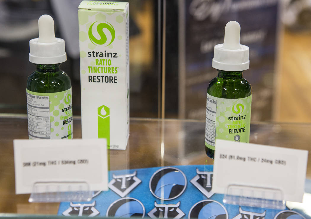 Cannabis tinctures at Reef Dispensaries near the Las Vegas Strip on Thursday, June 29, 2017.  Patrick Connolly Las Vegas Review-Journal @PConnPie