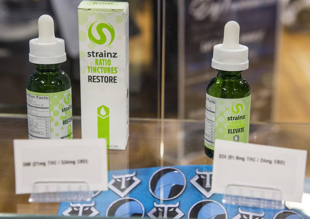 Cannabis tinctures at Reef Dispensaries near the Las Vegas Strip on Thursday, June 29, 2017.  Patrick Connolly Las Vegas Review-Journal @PConnPie