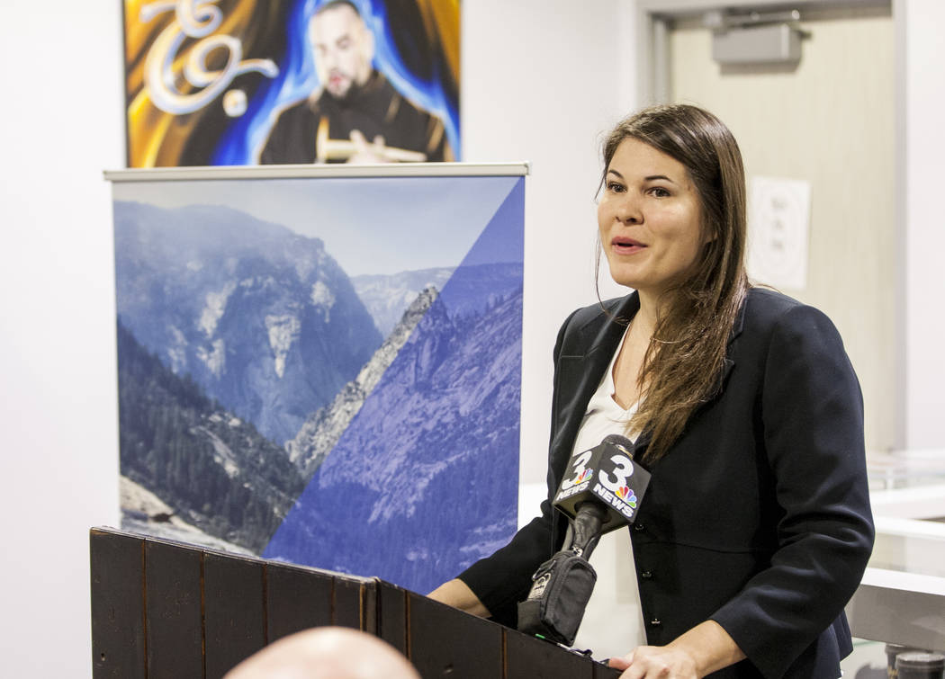 Riana Durrett, executive director of the Nevada Dispensary Association, during a press conference leading up to the start of recreational marijuana sales in Las Vegas, which begin July 1, at Reef  ...