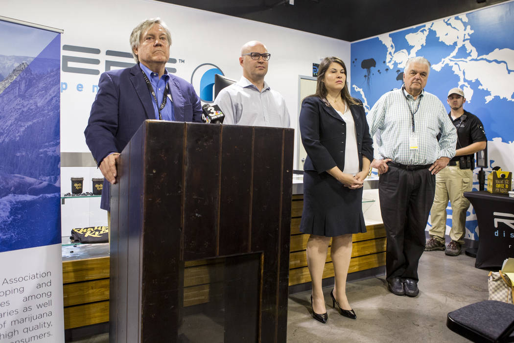 Sen. Tick Segerblom, D-Las Vegas, from left, Andrew Jolley, president of the Nevada Dispensary Association, Riana Durrett, the association's executive director, and Clark County Commission Chairma ...