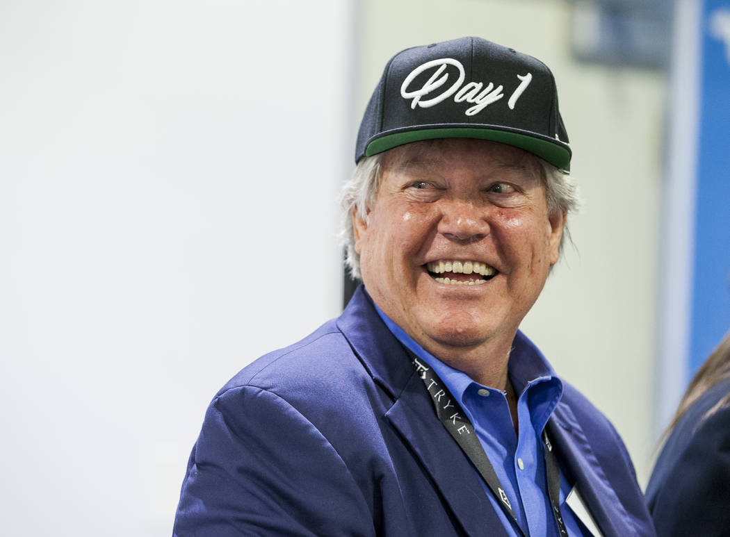 """Sen. Tick Segerblom, D-Las Vegas, wears a """"Day 1"""" hat, a reference to the first day of recreational marijuana sales on July 1, after a press conference at Reef Dispensaries near  ..."""