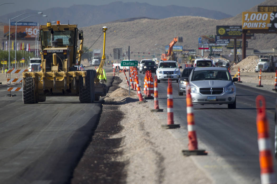 Roadwork continues along Las Vegas Boulevard near Chartan Avenue on Friday, June 30, 2017. Richard Brian Las Vegas Review-Journal @vegasphotograph
