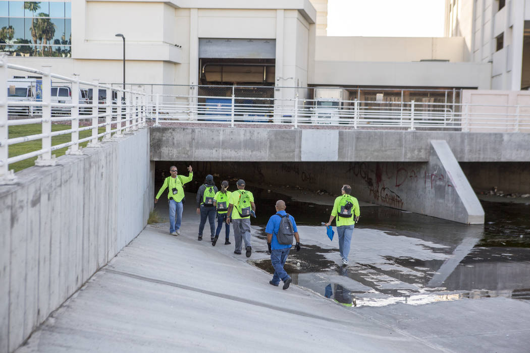 HELP of Southern Nevada employees prepare to check on homeless in flood tunnels near the Hard Rock hotel-casino on Tuesday, June 27, 2017.  Patrick Connolly Las Vegas Review-Journal @PConnPie