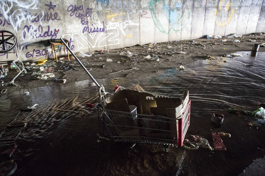 Discarded belongings sit in water in a flood tunnel near the Hard Rock hotel-casino on Tuesday, June 27, 2017.  Patrick Connolly Las Vegas Review-Journal @PConnPie