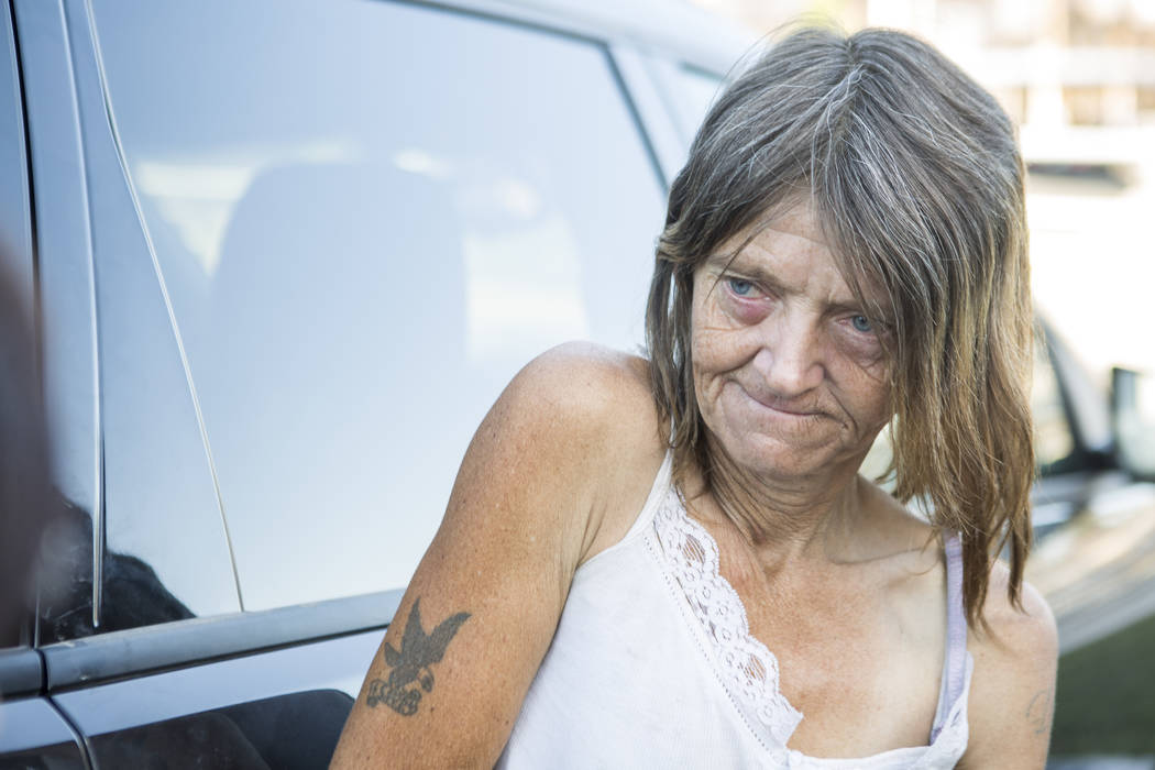 Sheila North, a woman who lives in flood tunnels near the Hard Rock hotel-casino on Tuesday, June 27, 2017.  Patrick Connolly Las Vegas Review-Journal @PConnPie