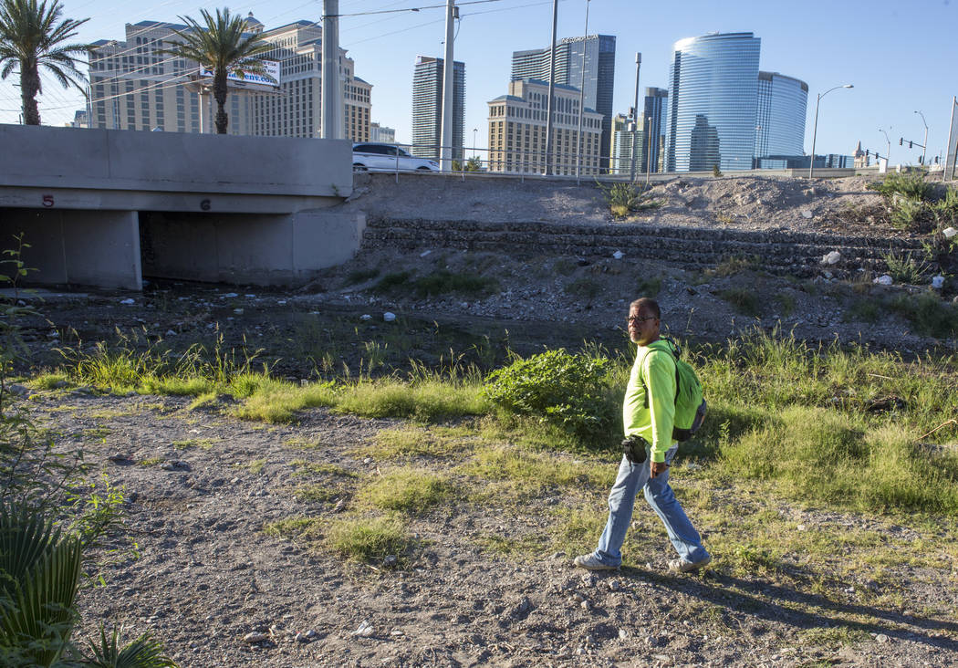 HELP of Southern Nevada employee Louis Lacey, the Mobile Crisis Intervention Team manager, prepares to enter a flood tunnel near the Rio hotel-casino on Thursday, June 29, 2017.  Patrick Connolly  ...