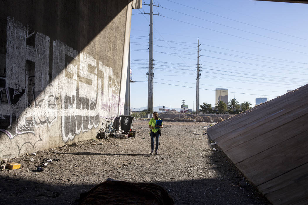 HELP of Southern Nevada employee Louis Hayli Petcoff, a Mobile Crisis Intervention Team peer advocate, walks beneath an Interstate 15 overpass near the Rio hotel-casino on Thursday, June 29, 2017. ...