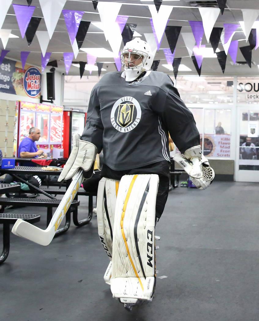 Vegas Golden Knights' goalie Maksim Zhukov heads to the ice rink at Las Vegas Ice Center during the team's development camp in Las Vegas on Thursday, June 29, 2017. (Bizuayehu Tesfaye/Las Vegas Re ...