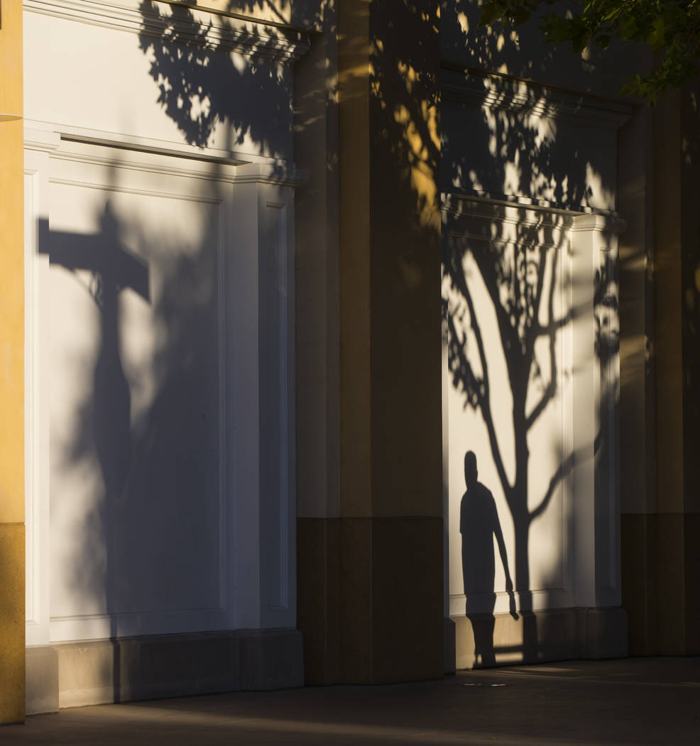 Shadows are cast against a wall at Town Square in Las Vegas on Thursday, June 29, 2017. (Chase Stevens/Las Vegas Review-Journal) @csstevensphoto