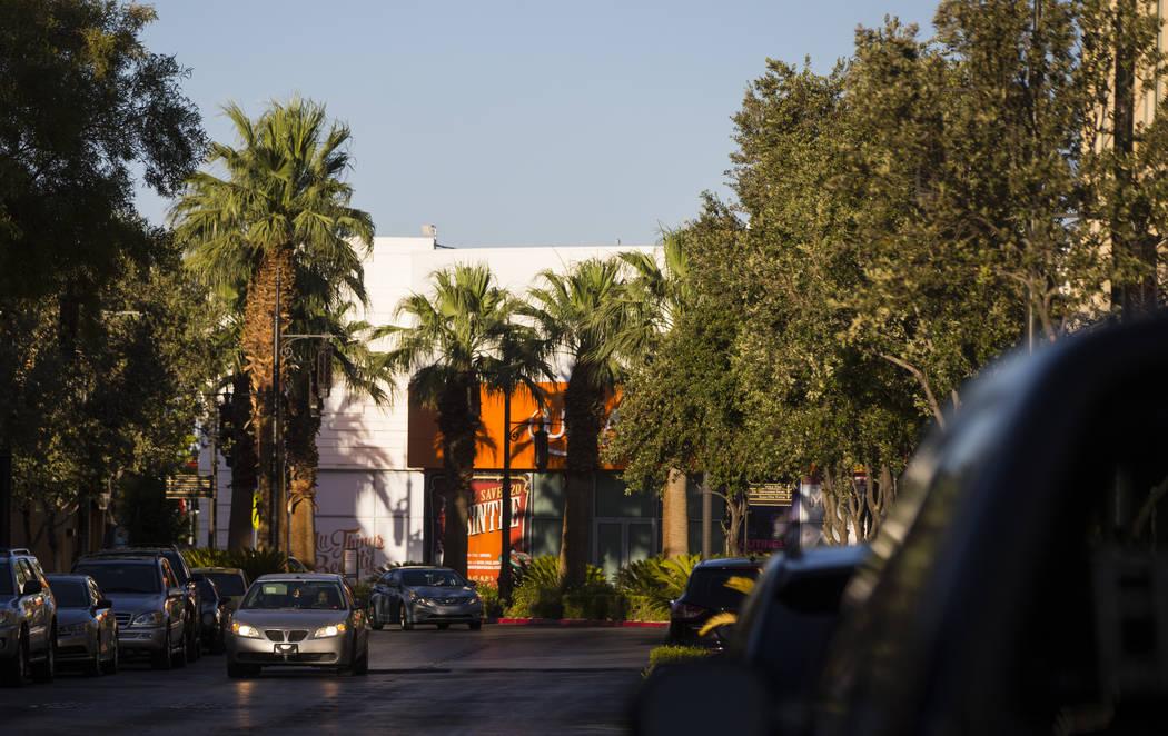 A car passes through Town Square in Las Vegas on Thursday, June 29, 2017. (Chase Stevens/Las Vegas Review-Journal) @csstevensphoto
