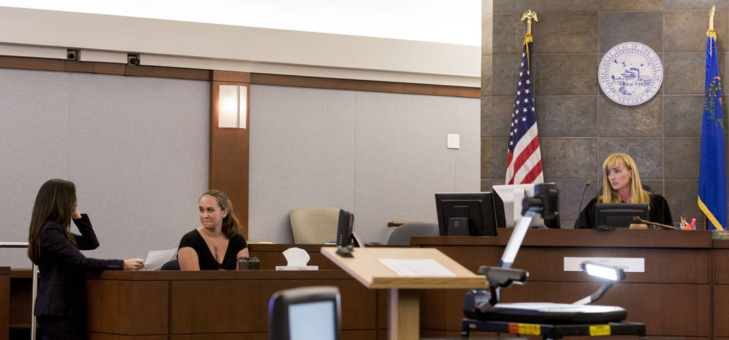 Prosecutor Jacqueline Bluth, left, and Rachel Gaskins, daughter of Thomas Randolph's sixth wife the late Francis Randolph, center, and Judge Stefany A. Miley during Thomas Randolph's trial at the  ...
