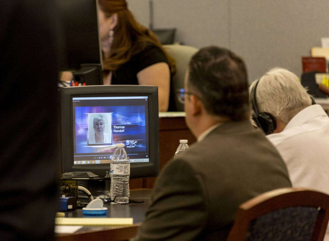 A news story plays of defendant Thomas Randolph during Randolph's trial at the Regional Justice Center in Las Vegas, Thursday, June 29, 2017. Elizabeth Brumley Las Vegas Review-Journal