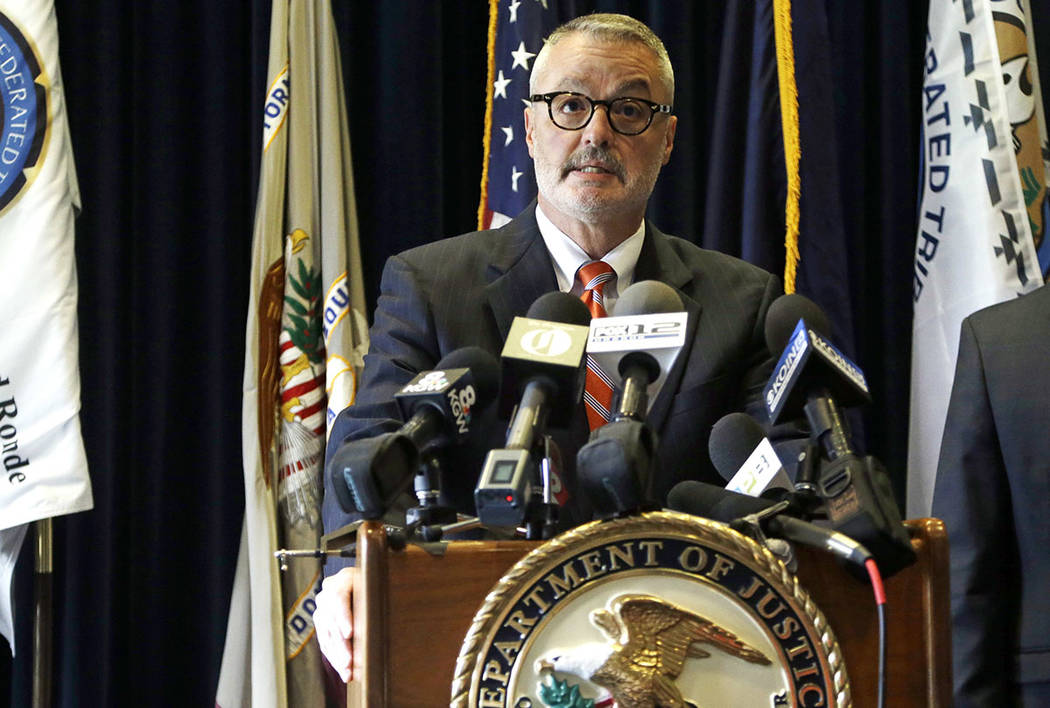 U.S. Attorney for the District of Oregon Billy J. Williams speaks during a press conference Portland, Ore., Wednesday, June 28, 2017, after the indictment of an FBI agent. (AP Photo/Don Ryan)