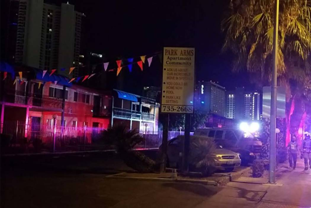 A fire early Thursday morning at the Park Arms Apartments, 511 E. Sahara Ave., displaced a family of six. (Mike Shoro/Las Vegas Review-Journal)