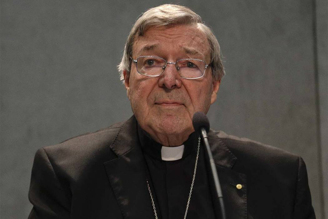 Cardinal George Pell meets the media, at the Vatican, Thursday, June 29, 2017. The Catholic Archdiocese of Sydney says Vatican Cardinal George Pell will return to Australia to fight sexual assault ...