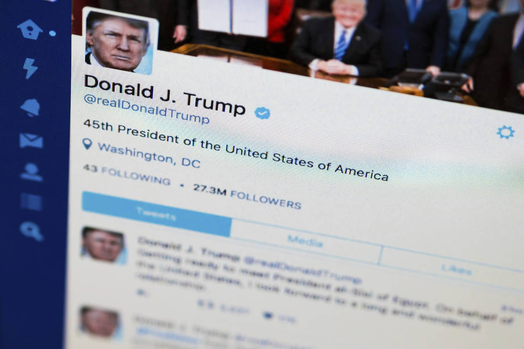 This April 3, 2017, photo shows President Donald Trump's tweeter feed on a computer screen in Washington. (J. David Ake/AP)