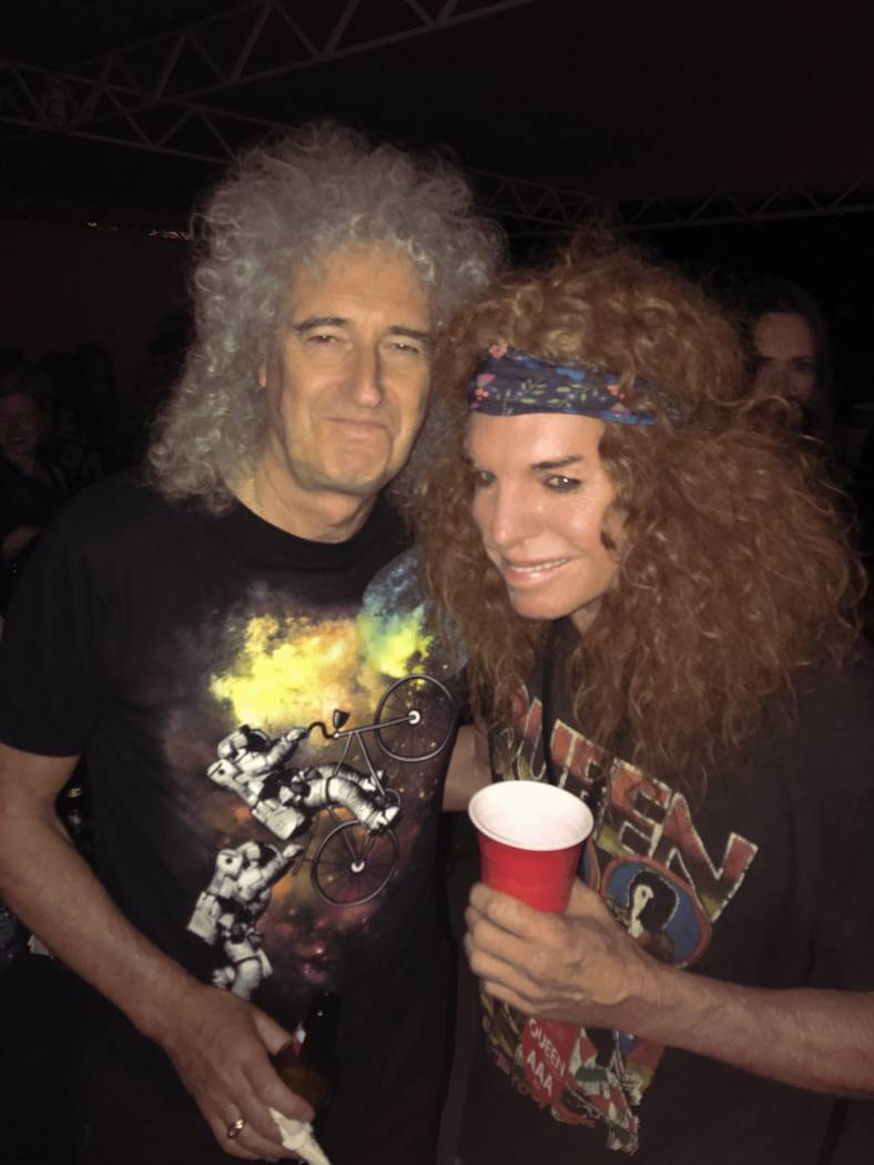 Carrot Top is shown with Queen guitarist Brian May at Hollywood Bowl in Los Angeles on Tuesday, June 27, 2017. (Carrot Top)