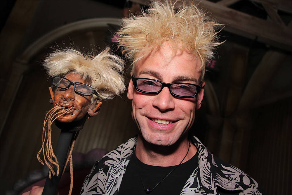 Celebrity magician Murray Sawchuck and his shrunken head, which was added to a collection of similar artwork at the Golden Tiki bar in Chinatown June 14.  (CR Hew Burney)
