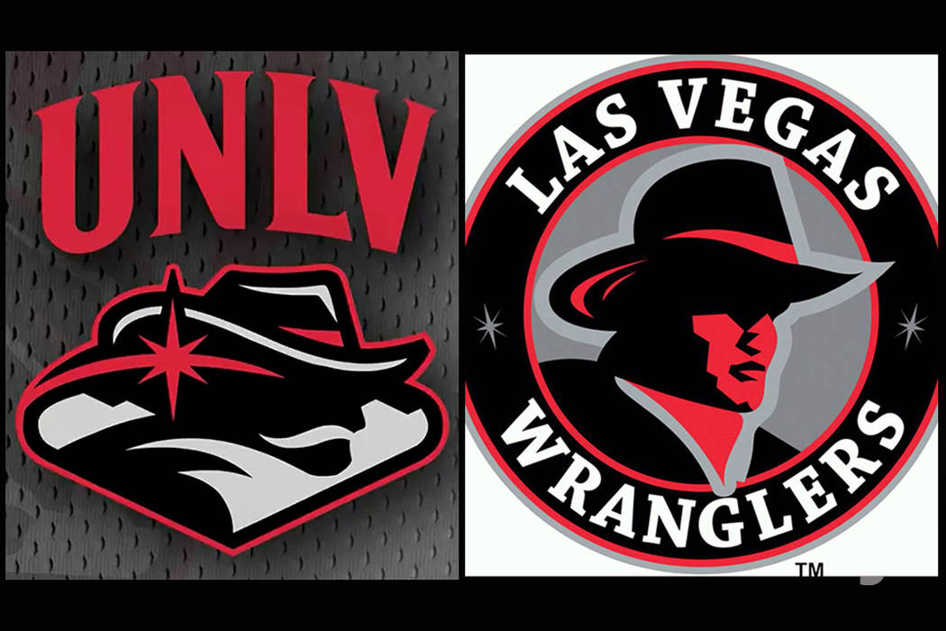 The new UNLV spirit logo and the Las Vegas Wranglers logo (from the 2010-2011 season).