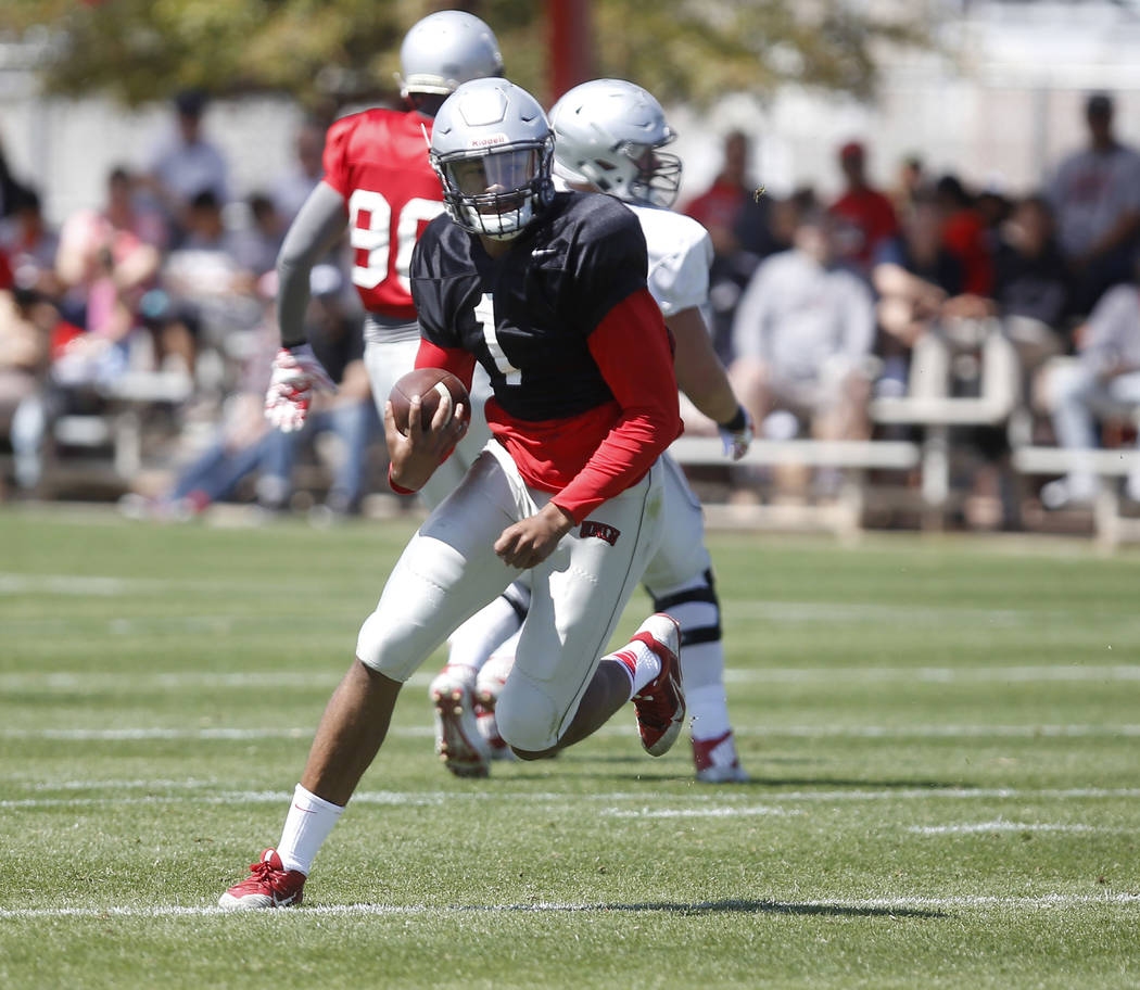UNLV's Armani Rogers (1) runs the ball during a UNLV spring football exhibition at the Peter Johann Memorial Field on Saturday, April 1, 2017, in Las Vegas. (Christian K. Lee/Las Vegas Review-Jour ...