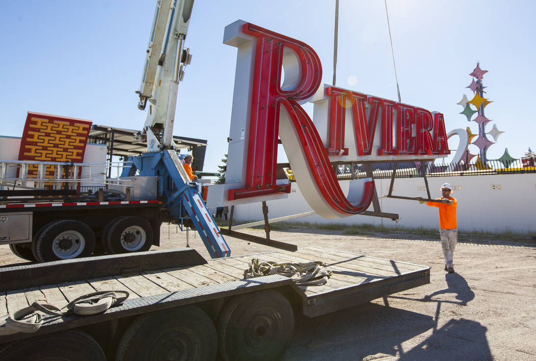 A Riviera hotel-casino sign that was kept in storage is delivered to the Neon Museum in Las Vegas on Friday, May 19, 2017. The sign is one of approximately 30 in storage slated to be installed for ...