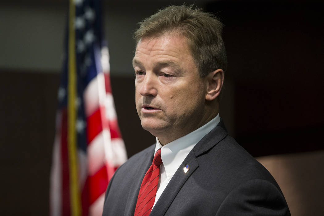 Sen. Dean Heller, R-Nev., during a press conference where he announced he will vote no on the proposed GOP healthcare bill at the Sawyer Building on Friday, June 23, 2017 in Las Vegas. Erik Verduz ...