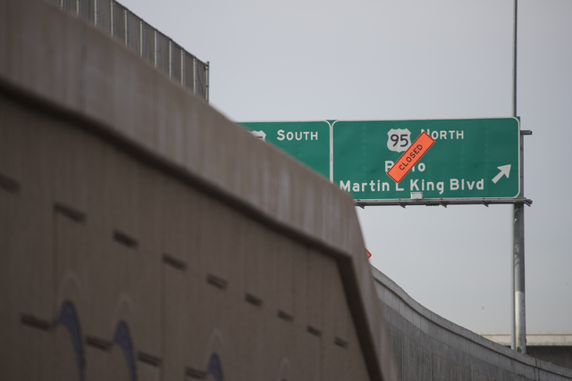 The Martin Luther King Boulevard offramp at northbound U.S. Highway 95 will be closed for 45 days as crews rebuild the ramp in downtown Las Vegas. Loren Townsley/Las Vegas Review-Journal Follow @l ...