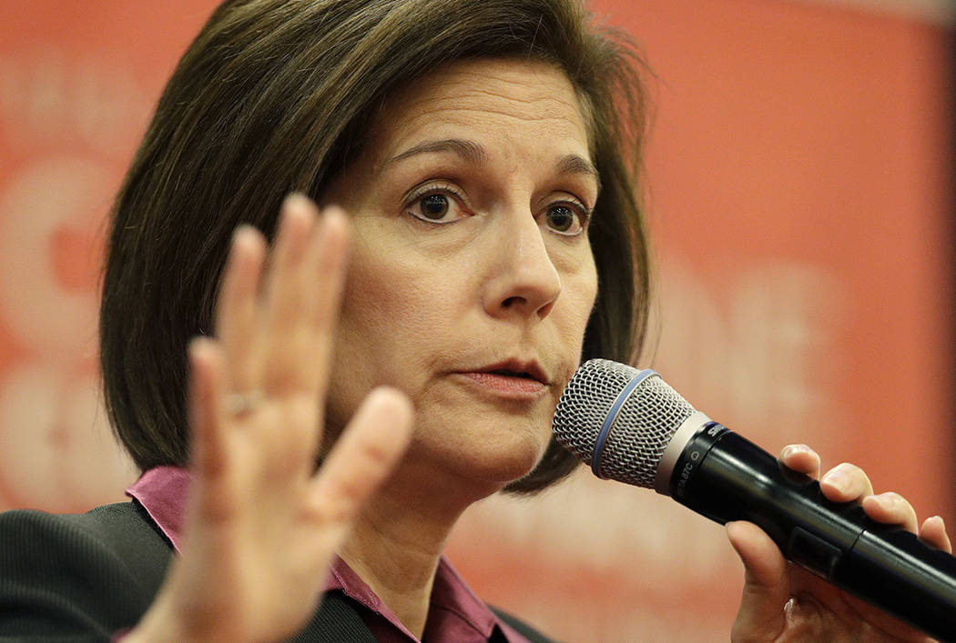 Sen. Catherine Cortez Masto, D-Nev., speaks at a town hall meeting Tuesday, April 18, 2017, in Las Vegas. (AP Photo/John Locher)